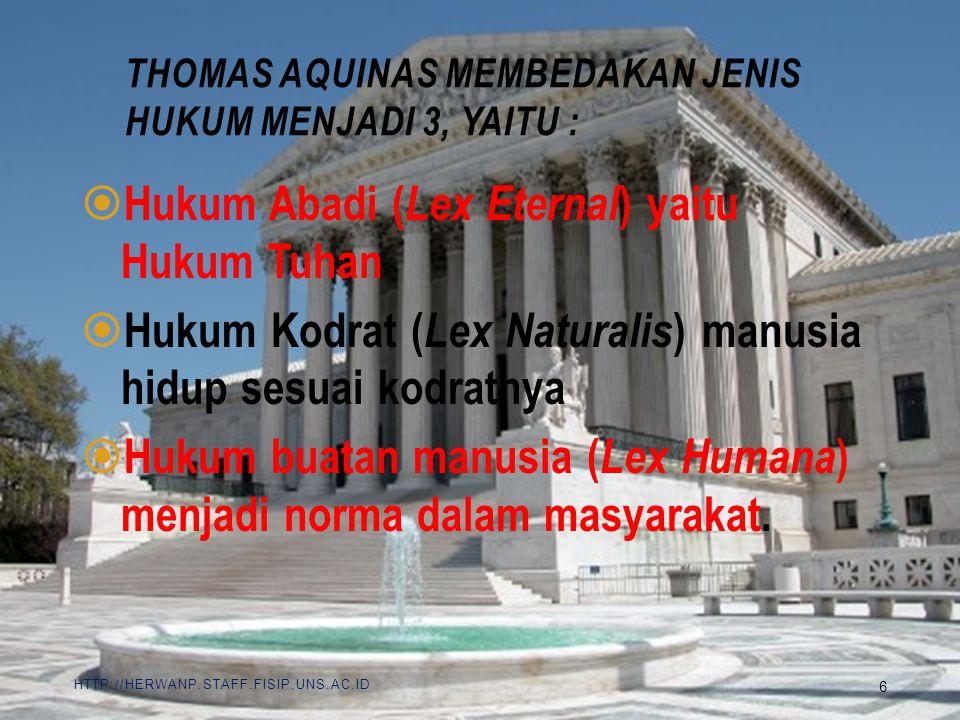 Thomas Aquinas membedakan jenis hukum menjadi 3, yaitu :