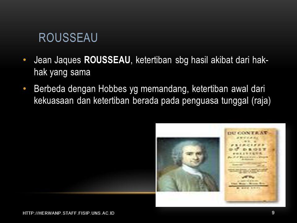 ROUSSEAU Jean Jaques ROUSSEAU, ketertiban sbg hasil akibat dari hak- hak yang sama.