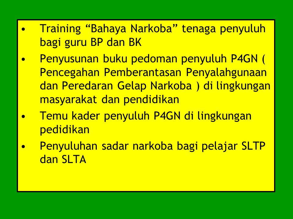 Training Bahaya Narkoba tenaga penyuluh bagi guru BP dan BK