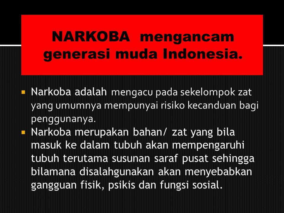 NARKOBA mengancam generasi muda Indonesia.