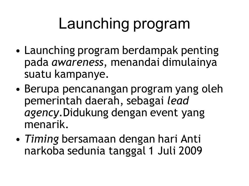 Launching program Launching program berdampak penting pada awareness, menandai dimulainya suatu kampanye.