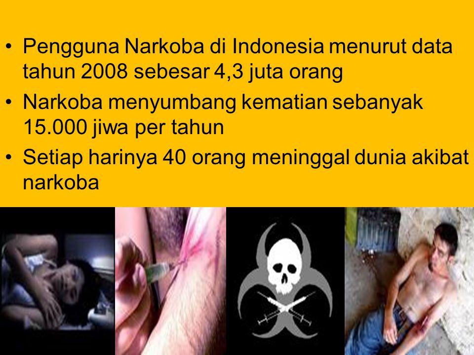 Pengguna Narkoba di Indonesia menurut data tahun 2008 sebesar 4,3 juta orang