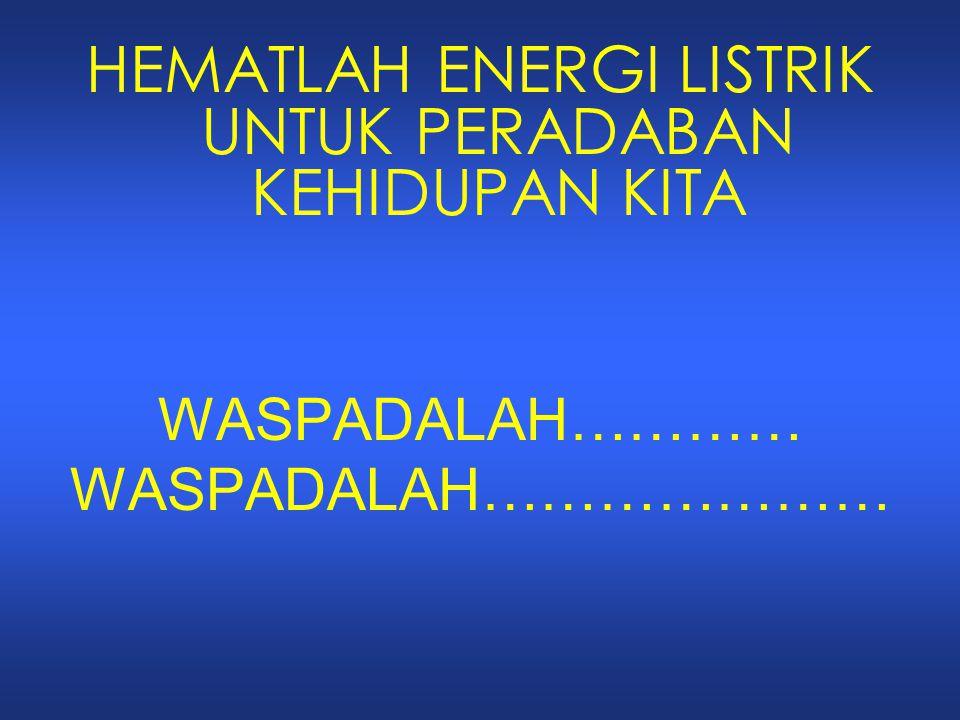 HEMATLAH ENERGI LISTRIK UNTUK PERADABAN KEHIDUPAN KITA
