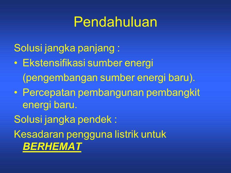 Pendahuluan Solusi jangka panjang : Ekstensifikasi sumber energi