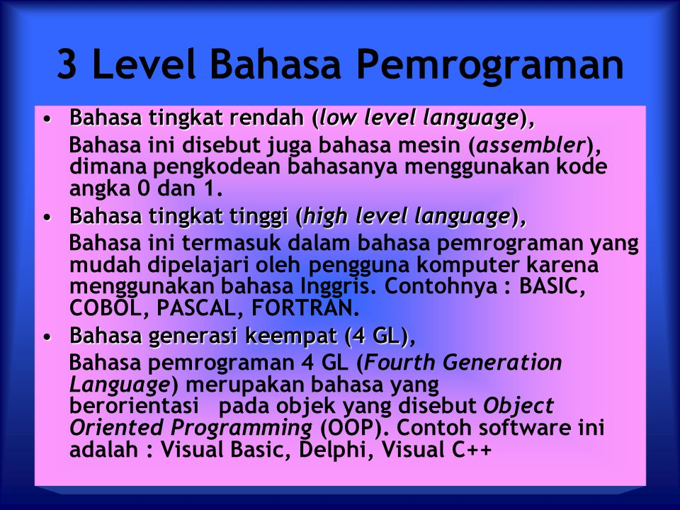 3 Level Bahasa Pemrograman