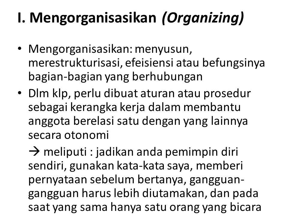 I. Mengorganisasikan (Organizing)