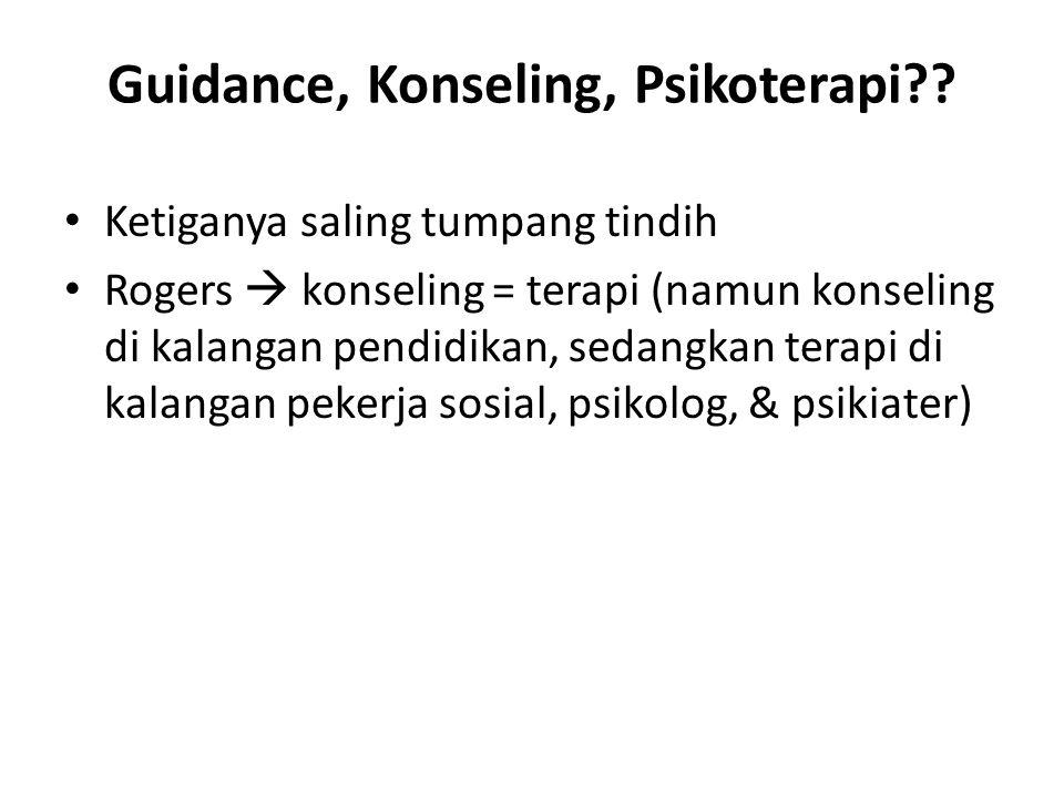 Guidance, Konseling, Psikoterapi