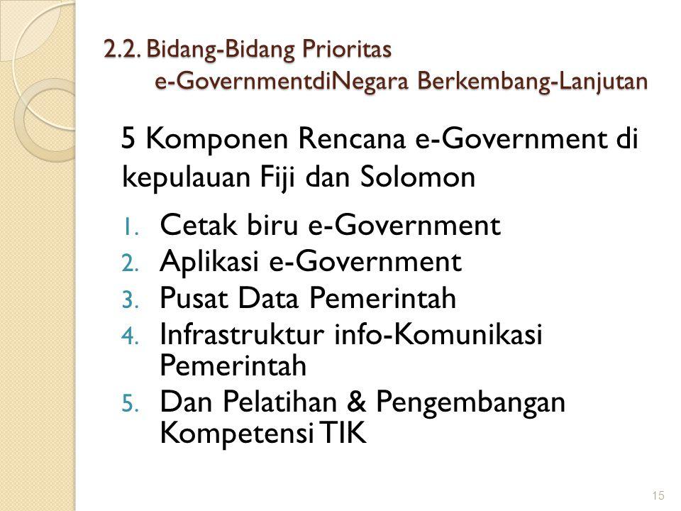 2.2. Bidang-Bidang Prioritas e-GovernmentdiNegara Berkembang-Lanjutan