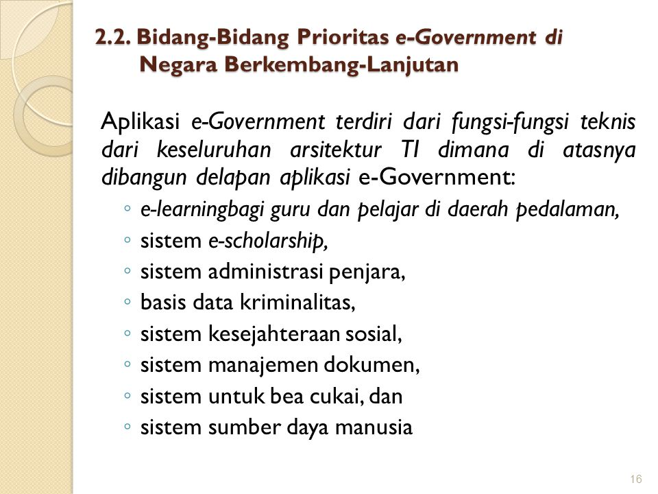 2.2. Bidang-Bidang Prioritas e-Government di Negara Berkembang-Lanjutan