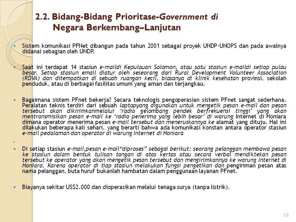 2.2. Bidang-Bidang Prioritase-Government di Negara Berkembang–Lanjutan