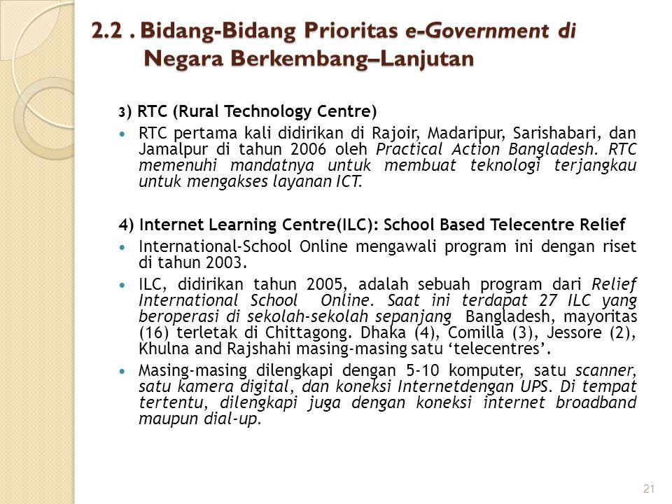2.2 . Bidang-Bidang Prioritas e-Government di Negara Berkembang–Lanjutan