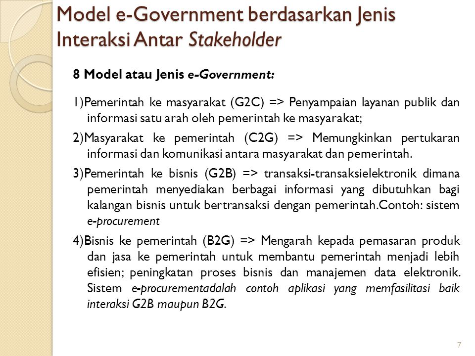 Model e-Government berdasarkan Jenis Interaksi Antar Stakeholder