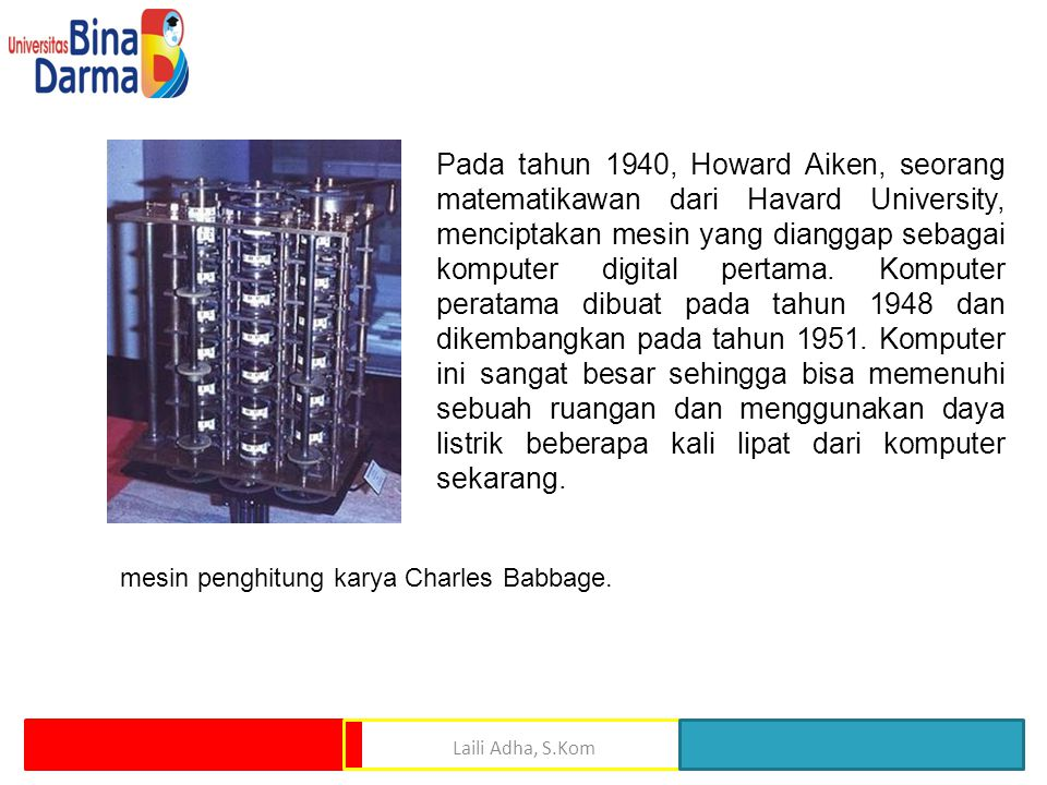 mesin penghitung karya Charles Babbage.