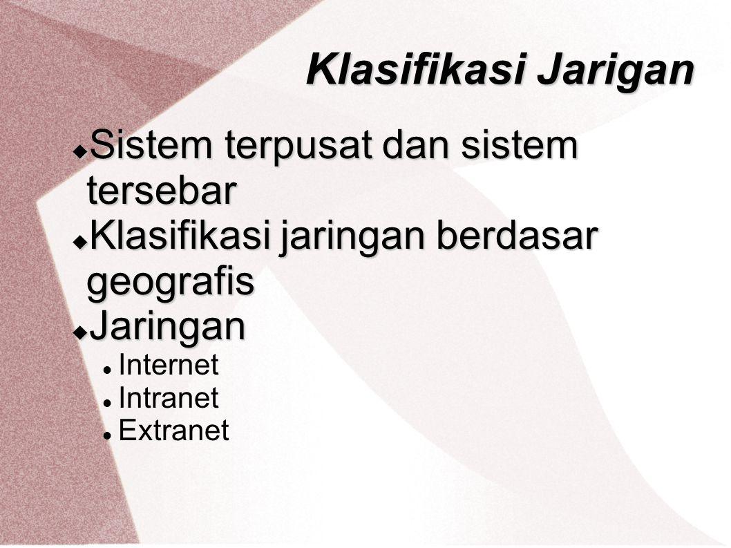 Klasifikasi Jarigan Sistem terpusat dan sistem tersebar