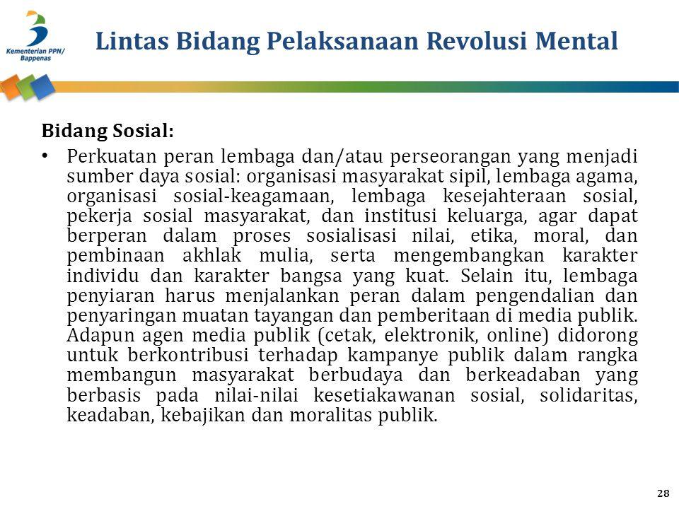 Lintas Bidang Pelaksanaan Revolusi Mental