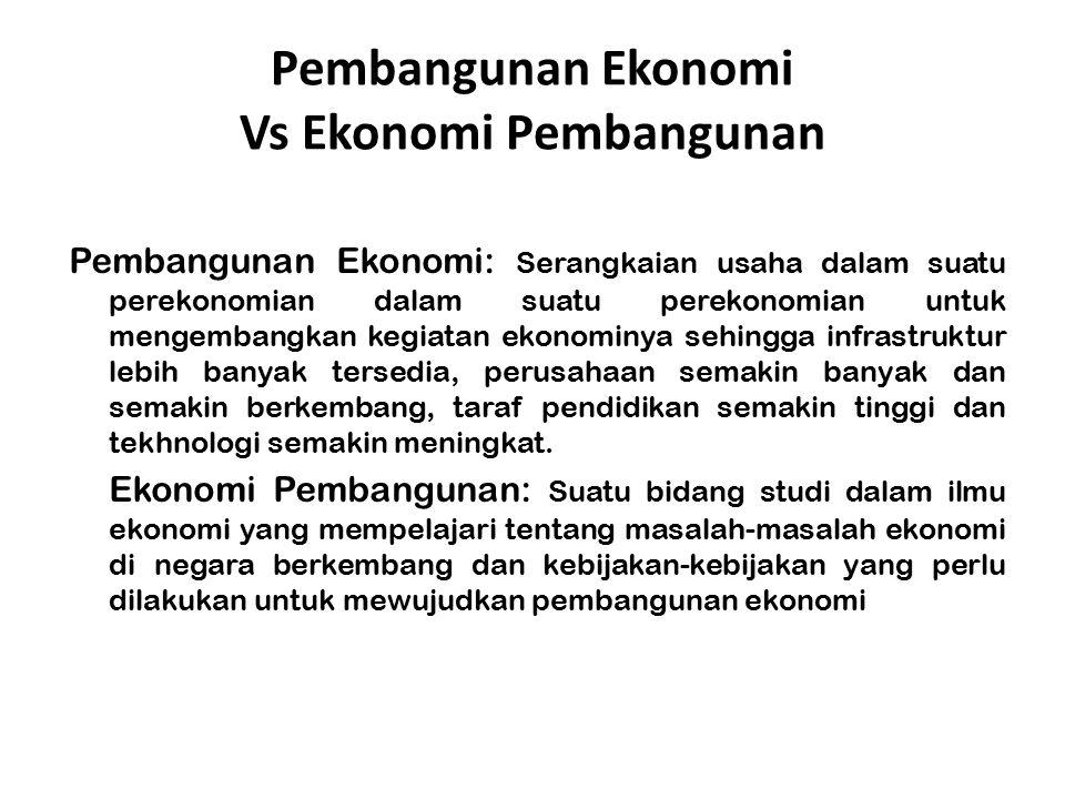 Pembangunan Ekonomi Vs Ekonomi Pembangunan