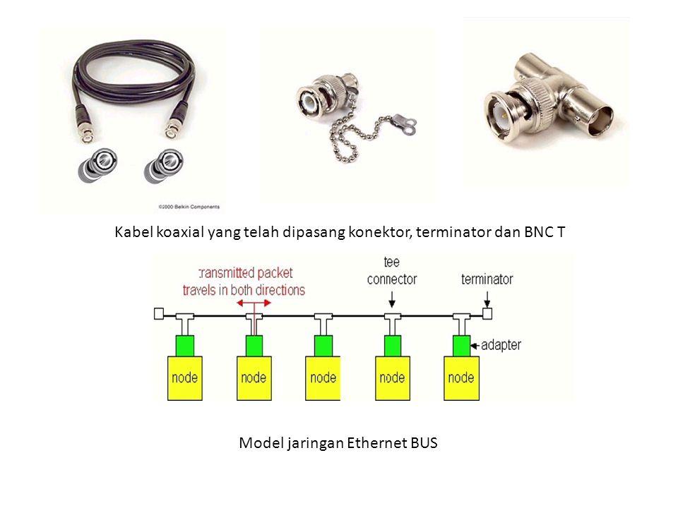 Kabel koaxial yang telah dipasang konektor, terminator dan BNC T