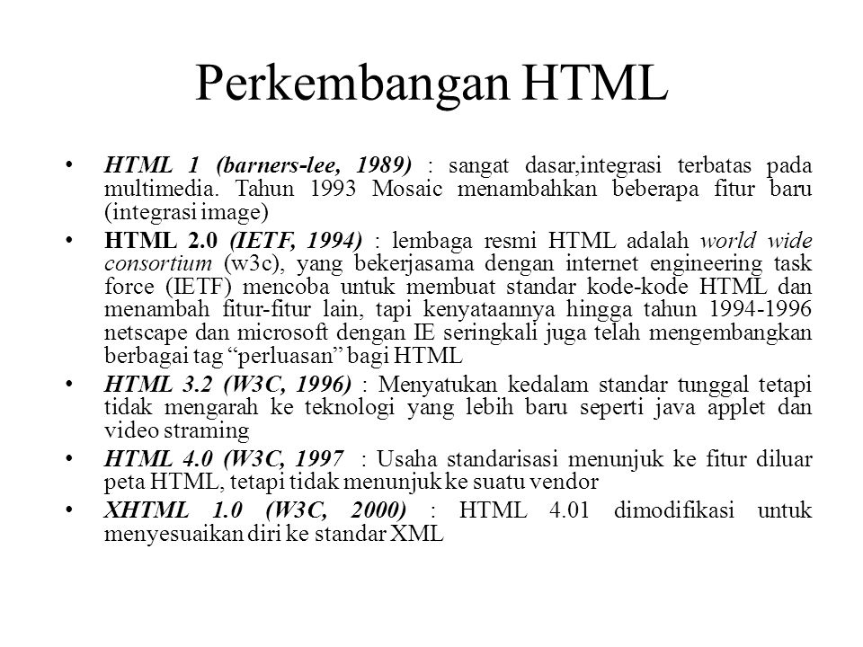 Perkembangan HTML