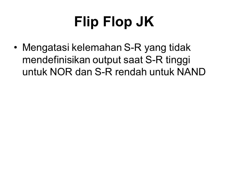 Flip Flop JK Mengatasi kelemahan S-R yang tidak mendefinisikan output saat S-R tinggi untuk NOR dan S-R rendah untuk NAND.
