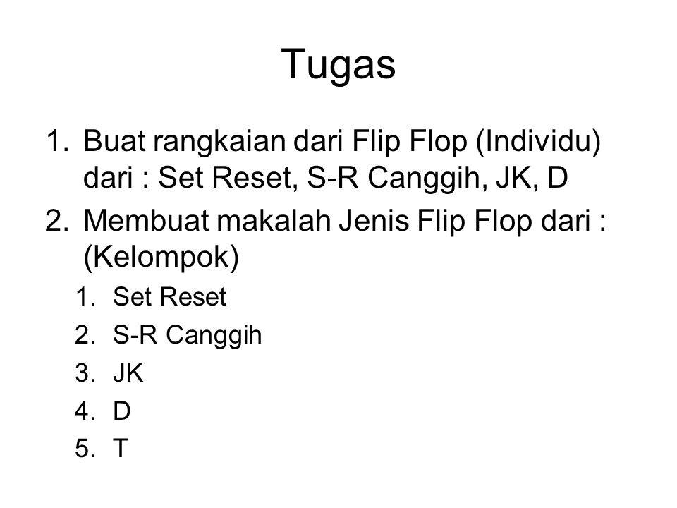 Tugas Buat rangkaian dari Flip Flop (Individu) dari : Set Reset, S-R Canggih, JK, D. Membuat makalah Jenis Flip Flop dari : (Kelompok)