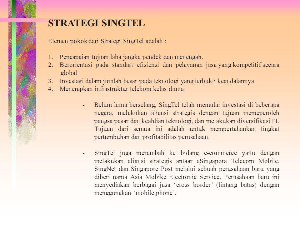 STRATEGI SINGTEL Elemen pokok dari Strategi SingTel adalah :