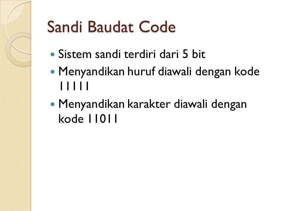 Sandi Baudat Code Sistem sandi terdiri dari 5 bit