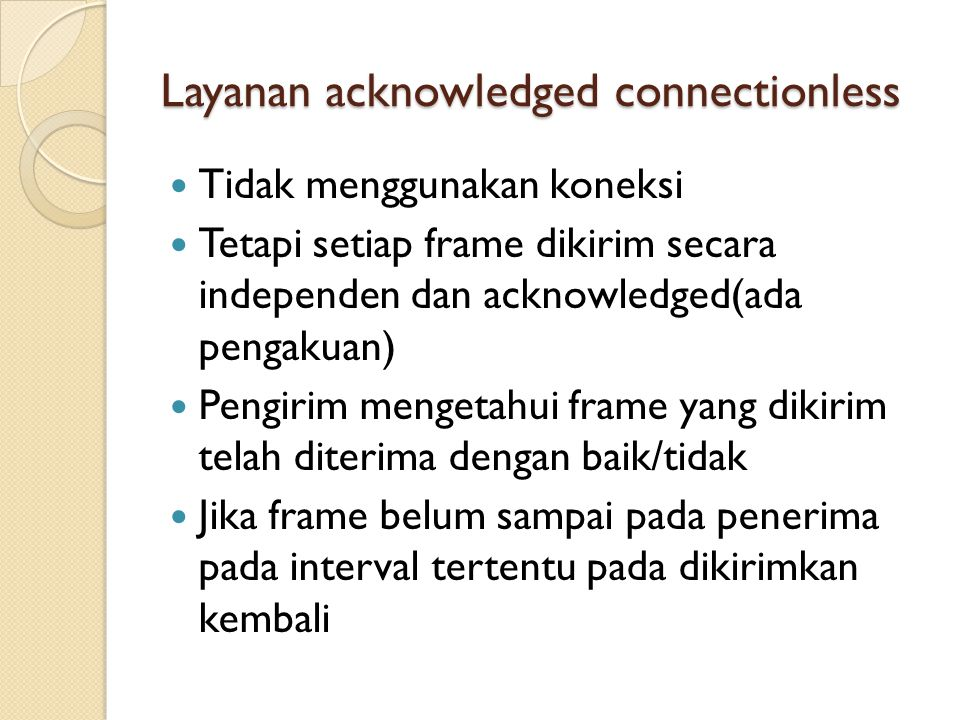 Layanan acknowledged connectionless
