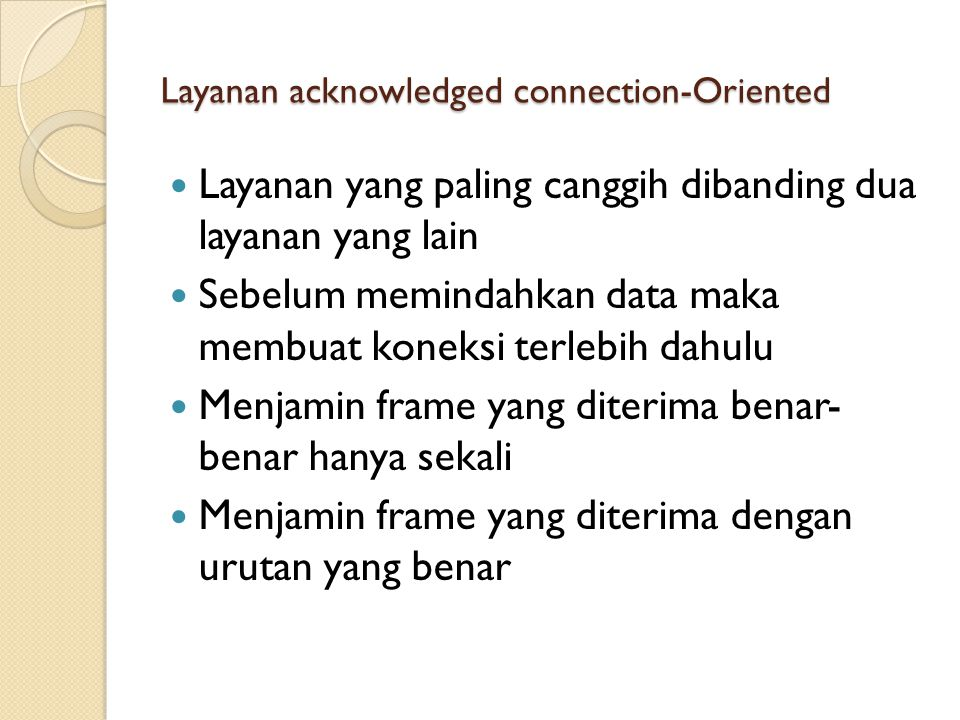 Layanan acknowledged connection-Oriented