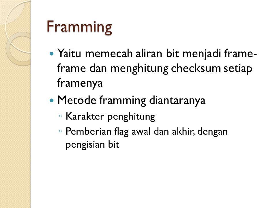 Framming Yaitu memecah aliran bit menjadi frame- frame dan menghitung checksum setiap framenya. Metode framming diantaranya.