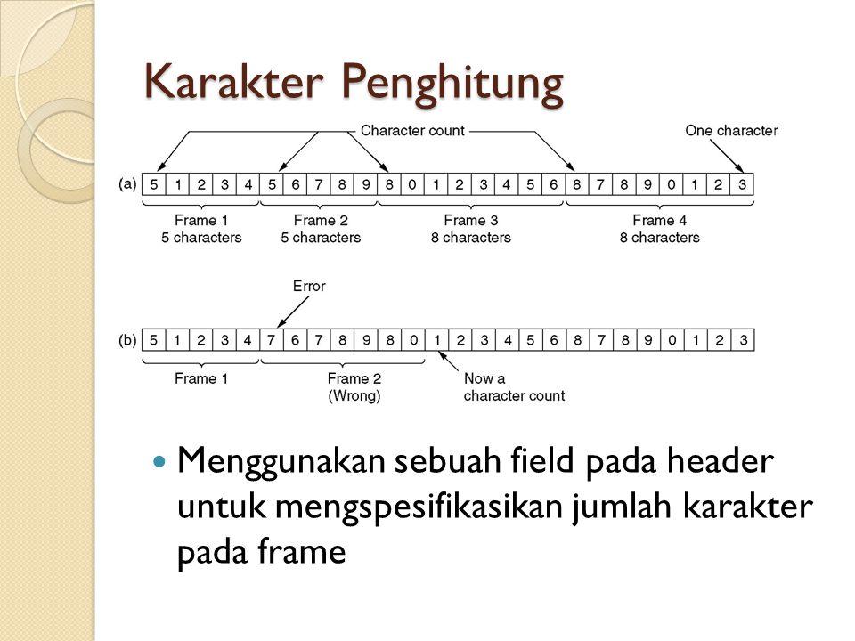 Karakter Penghitung Menggunakan sebuah field pada header untuk mengspesifikasikan jumlah karakter pada frame.