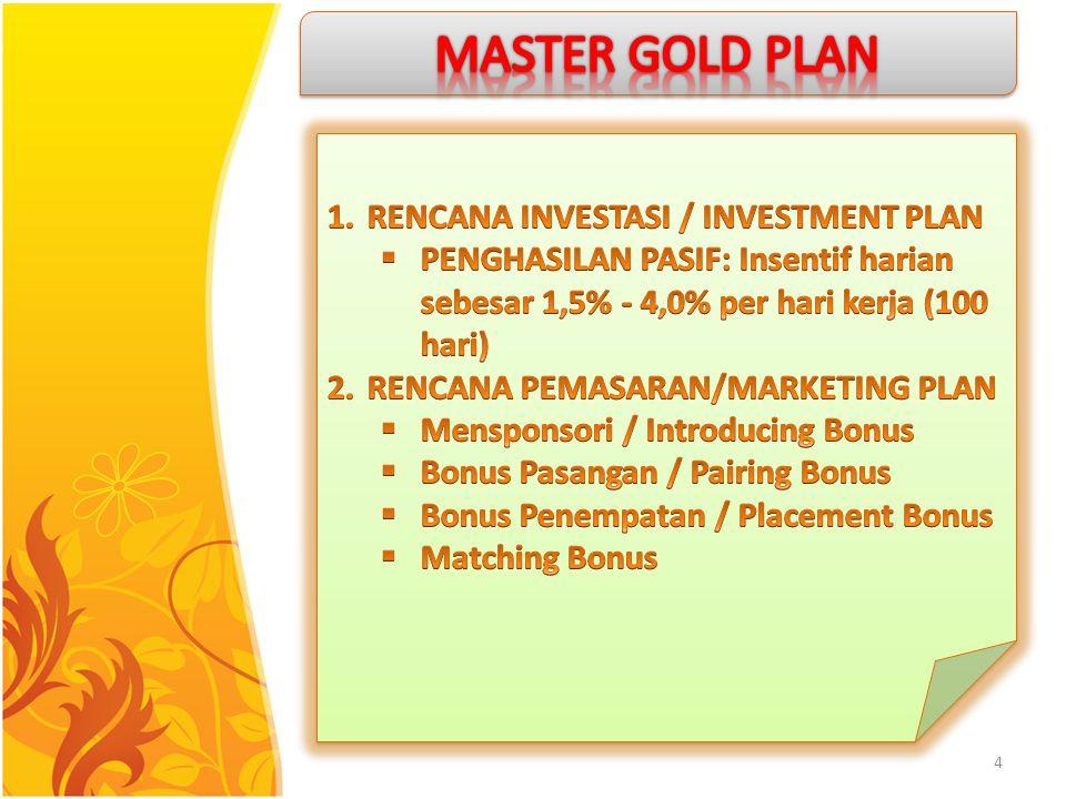 MASTER GOLD PLAN RENCANA INVESTASI / INVESTMENT PLAN