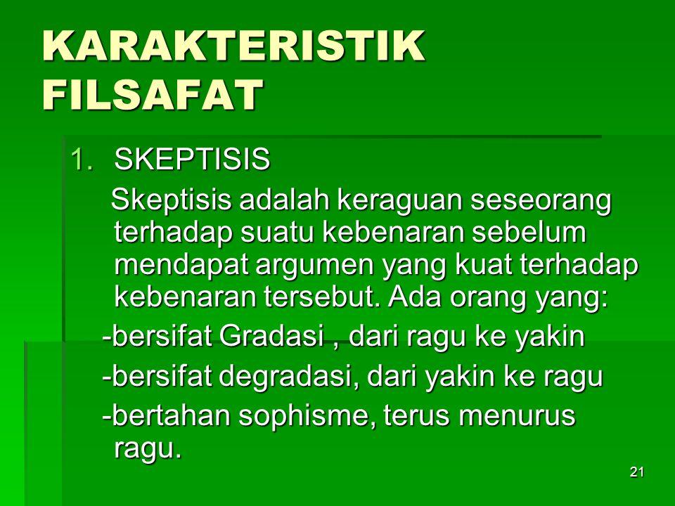 KARAKTERISTIK FILSAFAT
