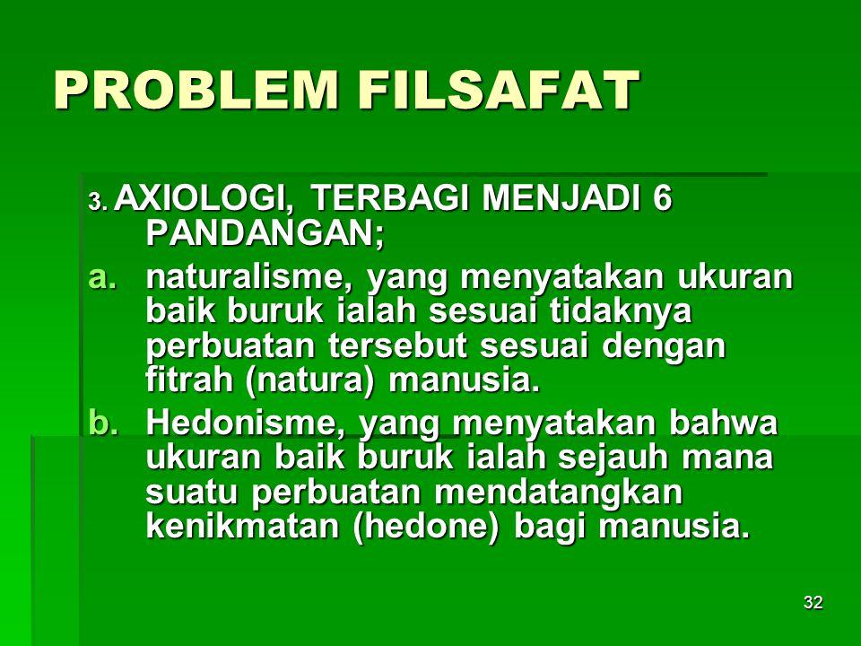 PROBLEM FILSAFAT 3. AXIOLOGI, TERBAGI MENJADI 6 PANDANGAN;