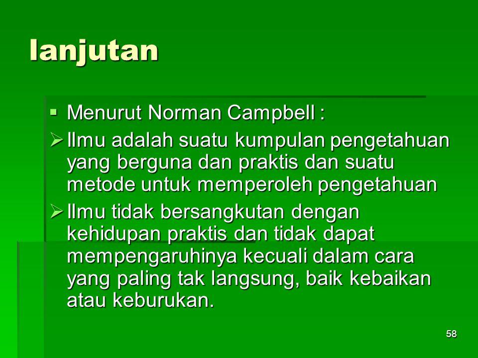 lanjutan Menurut Norman Campbell :