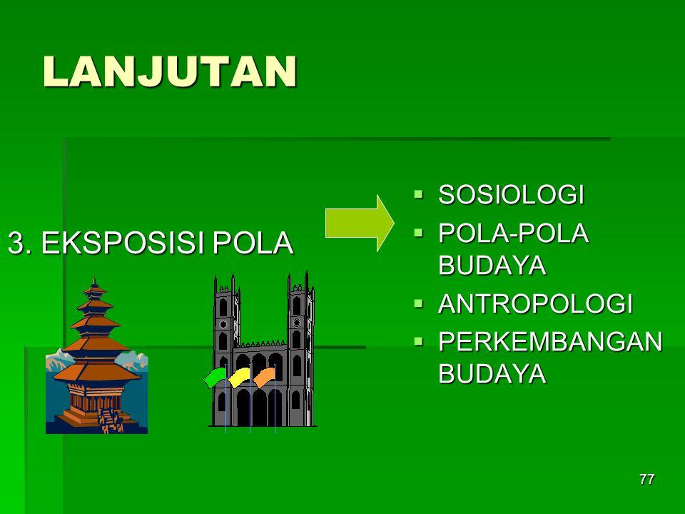 LANJUTAN 3. EKSPOSISI POLA SOSIOLOGI POLA-POLA BUDAYA ANTROPOLOGI