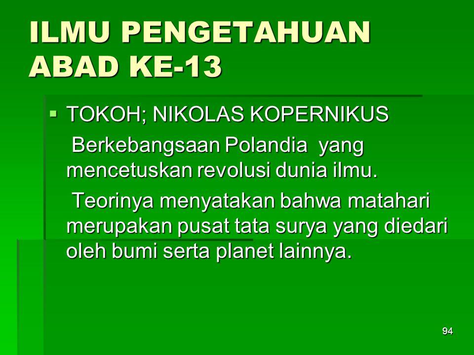 ILMU PENGETAHUAN ABAD KE-13