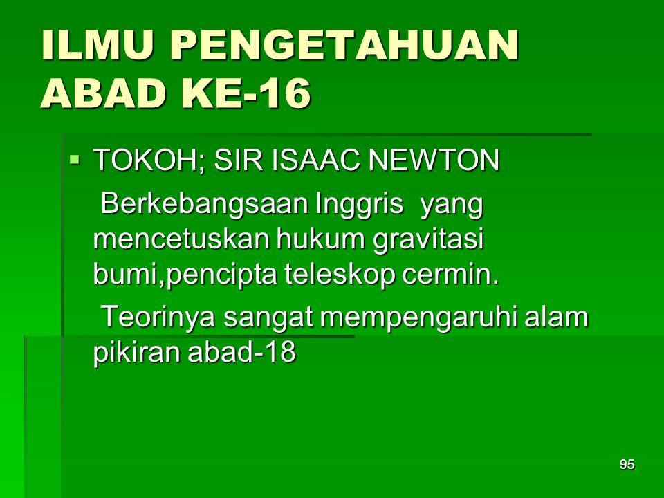 ILMU PENGETAHUAN ABAD KE-16