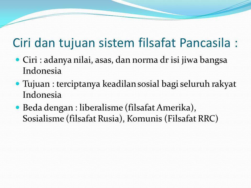 Ciri dan tujuan sistem filsafat Pancasila :