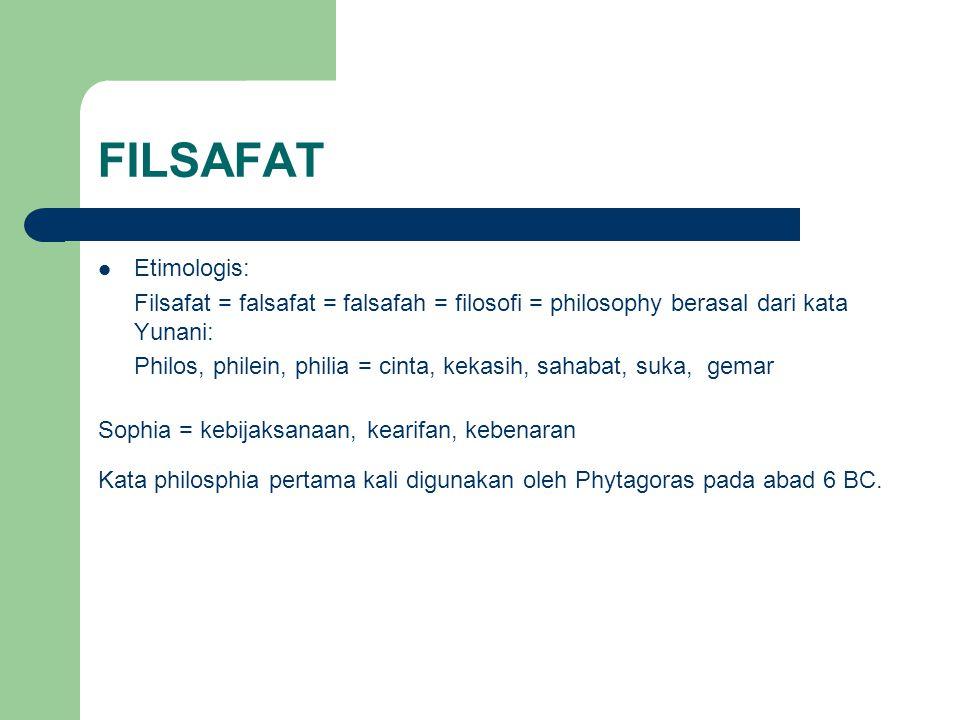 FILSAFAT Etimologis: Filsafat = falsafat = falsafah = filosofi = philosophy berasal dari kata Yunani: