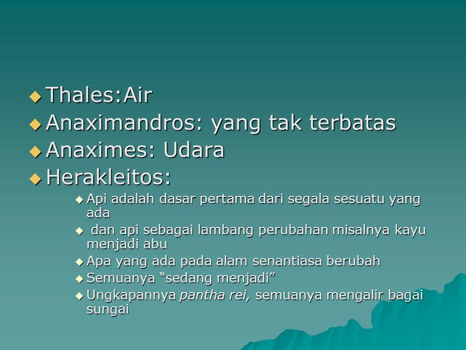 Anaximandros: yang tak terbatas Anaximes: Udara Herakleitos: