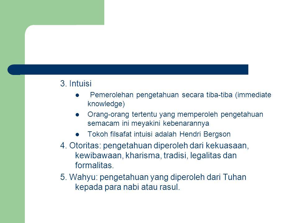 3. Intuisi Pemerolehan pengetahuan secara tiba-tiba (immediate knowledge)