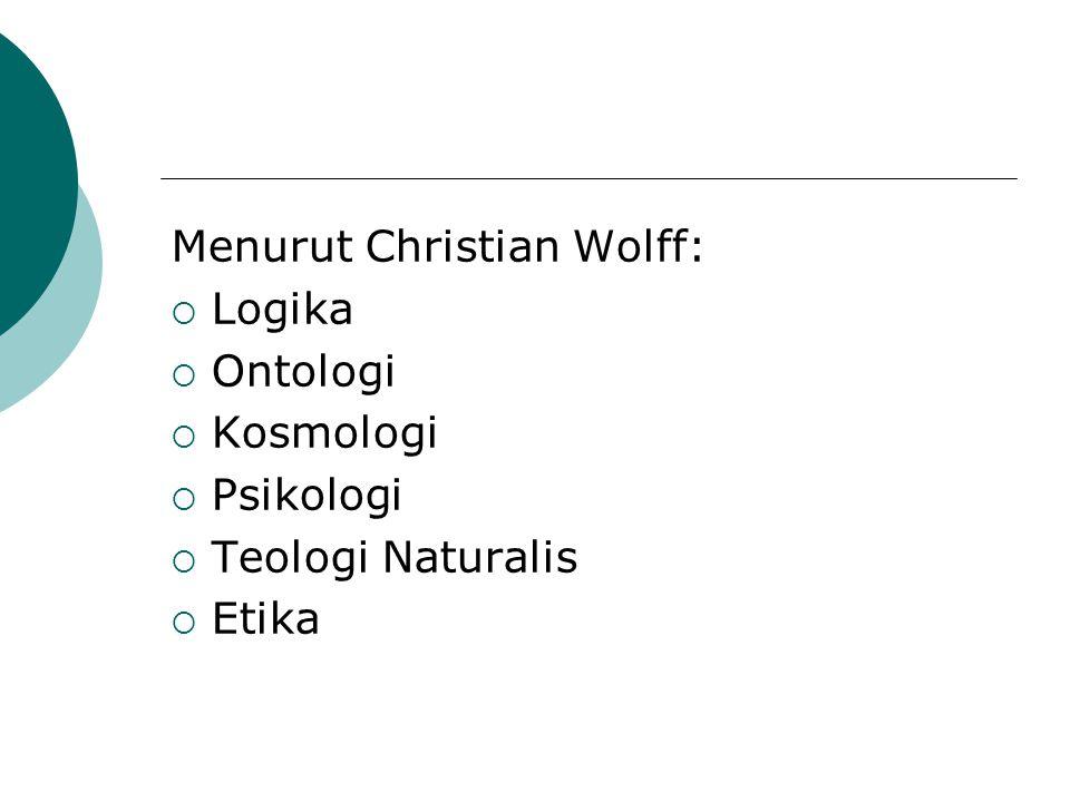 Menurut Christian Wolff: