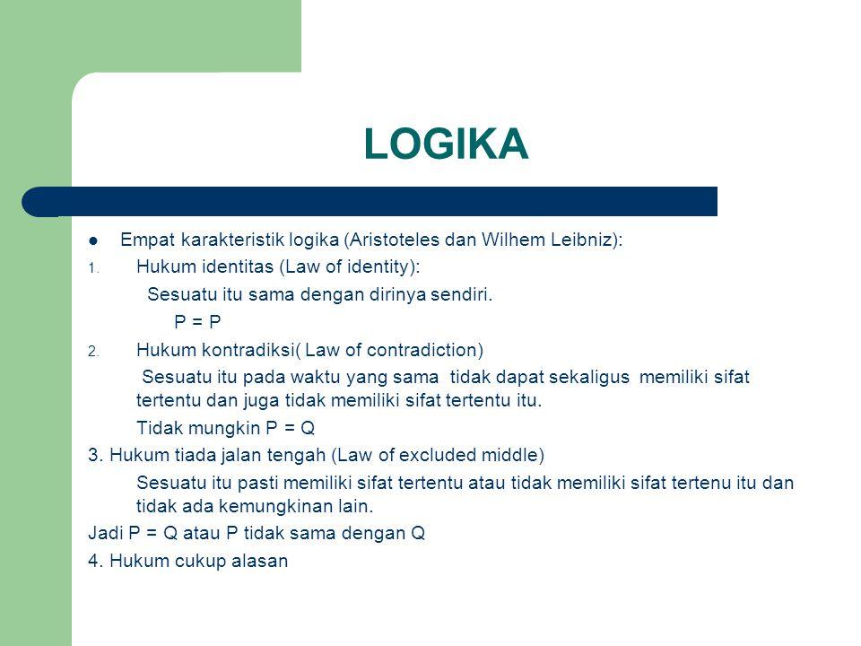 LOGIKA Empat karakteristik logika (Aristoteles dan Wilhem Leibniz):