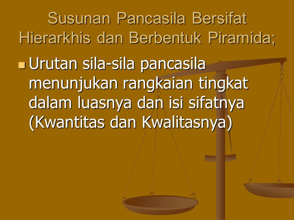 Susunan Pancasila Bersifat Hierarkhis dan Berbentuk Piramida;