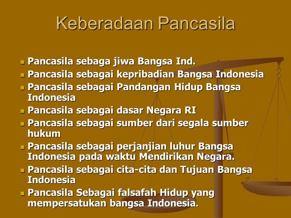 Keberadaan Pancasila Pancasila sebaga jiwa Bangsa Ind.