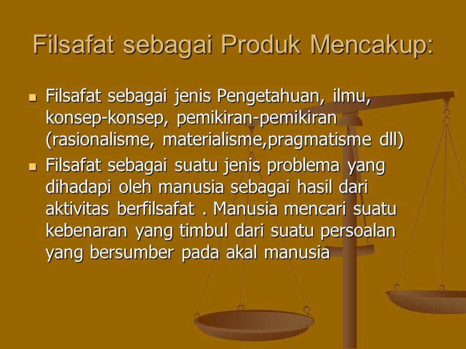 Filsafat sebagai Produk Mencakup: