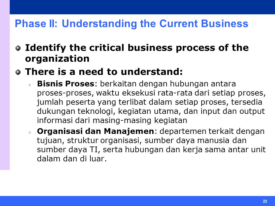 Phase II: Understanding the Current Business