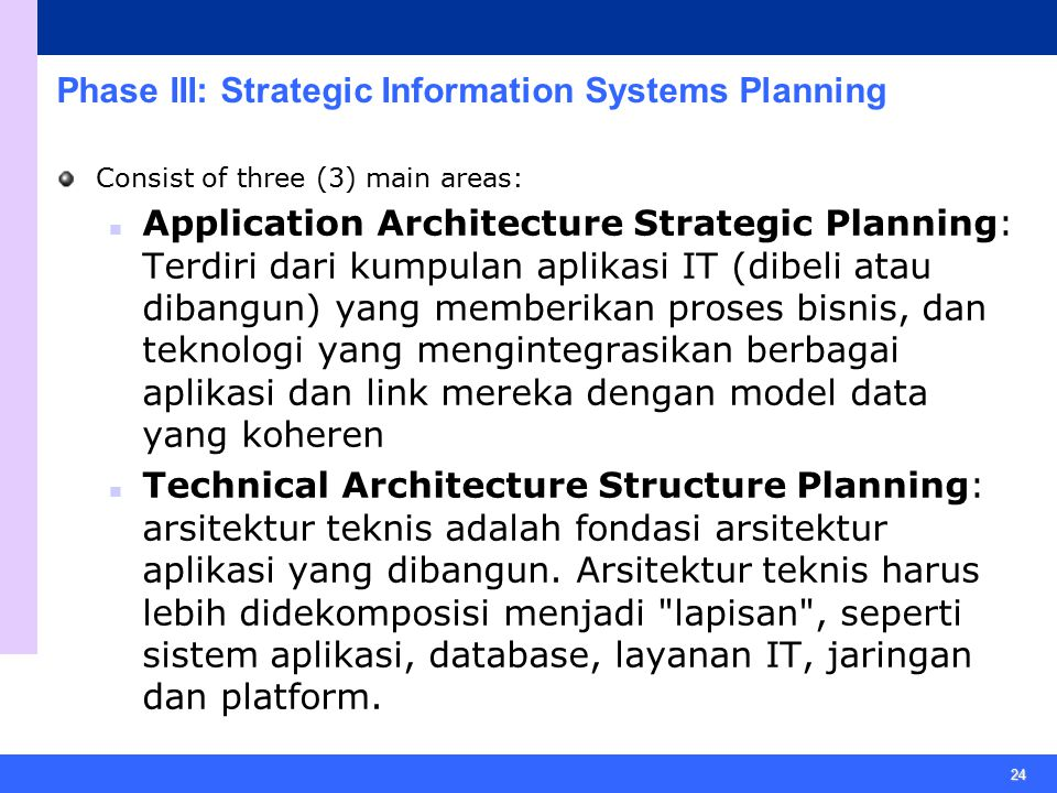 Phase III: Strategic Information Systems Planning