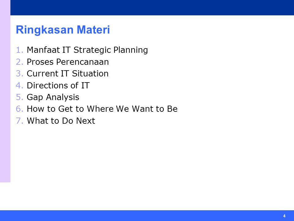 Ringkasan Materi Manfaat IT Strategic Planning Proses Perencanaan