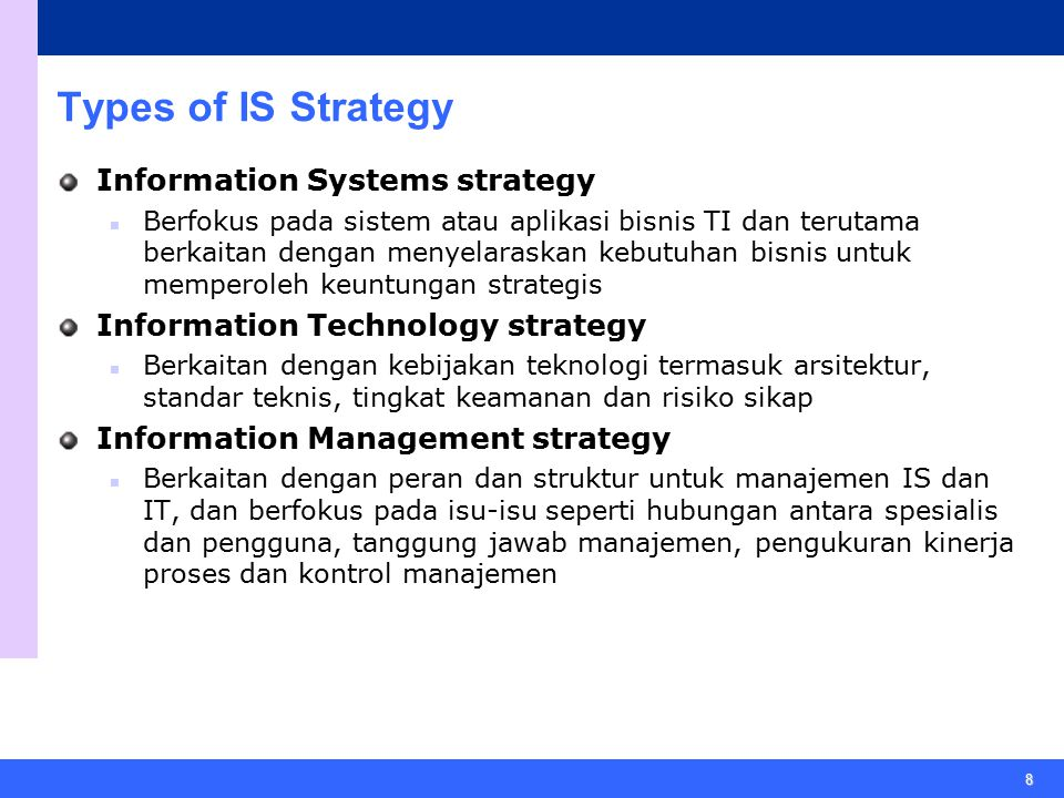 Types of IS Strategy Information Systems strategy